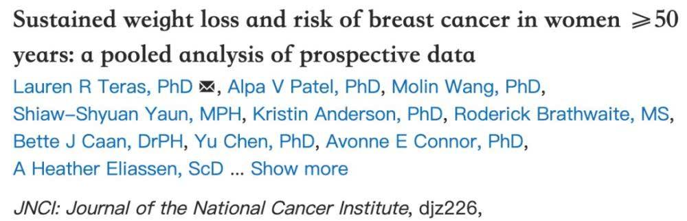 美国国家癌症研究所:女性越瘦,乳腺癌风险越低!